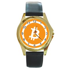Bitcoin Cryptocurrency Currency Round Gold Metal Watch