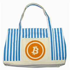 Bitcoin Cryptocurrency Currency Striped Blue Tote Bag