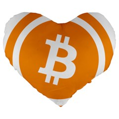 Bitcoin Cryptocurrency Currency Large 19  Premium Heart Shape Cushions by Nexatart