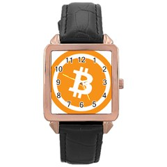 Bitcoin Cryptocurrency Currency Rose Gold Leather Watch