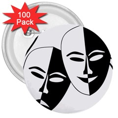 Theatermasken Masks Theater Happy 3  Buttons (100 Pack)