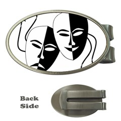 Theatermasken Masks Theater Happy Money Clips (oval)  by Nexatart