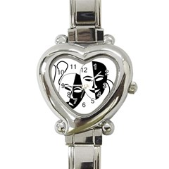 Theatermasken Masks Theater Happy Heart Italian Charm Watch by Nexatart