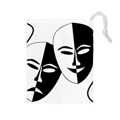 Theatermasken Masks Theater Happy Drawstring Pouches (large)  by Nexatart