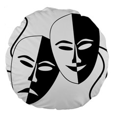 Theatermasken Masks Theater Happy Large 18  Premium Flano Round Cushions
