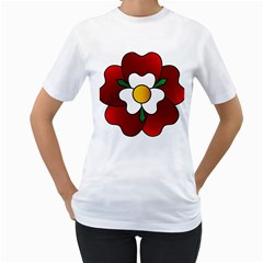 Flower Rose Glass Church Window Women s T Shirt (white) (two Sided) by Nexatart