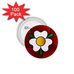 Flower Rose Glass Church Window 1 75  Buttons (100 Pack)