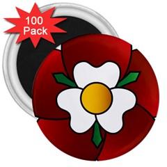 Flower Rose Glass Church Window 3  Magnets (100 Pack) by Nexatart