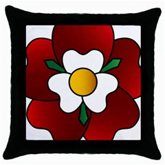 Flower Rose Glass Church Window Throw Pillow Case (black) by Nexatart