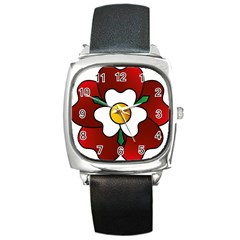 Flower Rose Glass Church Window Square Metal Watch by Nexatart