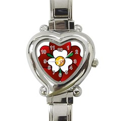 Flower Rose Glass Church Window Heart Italian Charm Watch by Nexatart