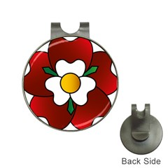 Flower Rose Glass Church Window Hat Clips With Golf Markers by Nexatart