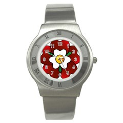 Flower Rose Glass Church Window Stainless Steel Watch by Nexatart