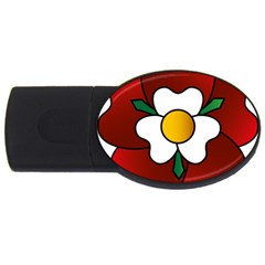 Flower Rose Glass Church Window Usb Flash Drive Oval (4 Gb)