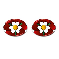 Flower Rose Glass Church Window Cufflinks (oval)