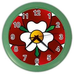 Flower Rose Glass Church Window Color Wall Clocks by Nexatart