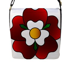 Flower Rose Glass Church Window Flap Messenger Bag (l)  by Nexatart