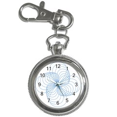 Blue Spirograph Pattern Drawing Design Key Chain Watches