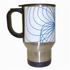 Blue Spirograph Pattern Drawing Design Travel Mugs (white)