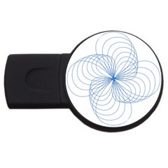 Blue Spirograph Pattern Drawing Design Usb Flash Drive Round (4 Gb) by Nexatart