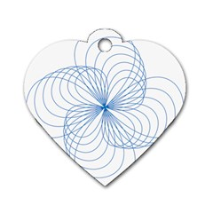 Blue Spirograph Pattern Drawing Design Dog Tag Heart (one Side) by Nexatart