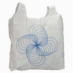 Blue Spirograph Pattern Drawing Design Recycle Bag (one Side) by Nexatart