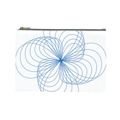 Blue Spirograph Pattern Drawing Design Cosmetic Bag (large)  by Nexatart