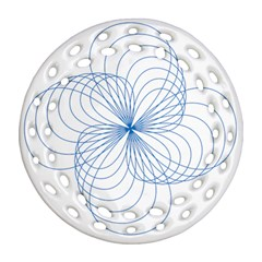 Blue Spirograph Pattern Drawing Design Round Filigree Ornament (two Sides)