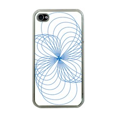 Blue Spirograph Pattern Drawing Design Apple Iphone 4 Case (clear)