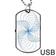 Blue Spirograph Pattern Drawing Design Dog Tag Usb Flash (two Sides)