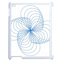 Blue Spirograph Pattern Drawing Design Apple Ipad 2 Case (white) by Nexatart