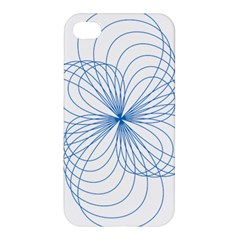 Blue Spirograph Pattern Drawing Design Apple Iphone 4/4s Hardshell Case by Nexatart