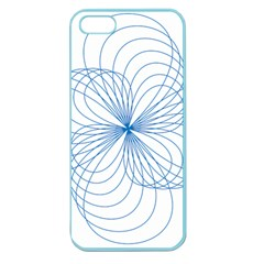 Blue Spirograph Pattern Drawing Design Apple Seamless Iphone 5 Case (color)