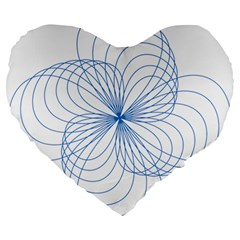 Blue Spirograph Pattern Drawing Design Large 19  Premium Heart Shape Cushions by Nexatart