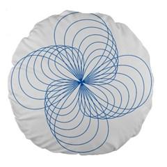 Blue Spirograph Pattern Drawing Design Large 18  Premium Flano Round Cushions