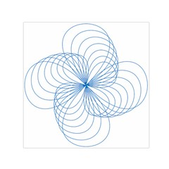 Blue Spirograph Pattern Drawing Design Small Satin Scarf (square)