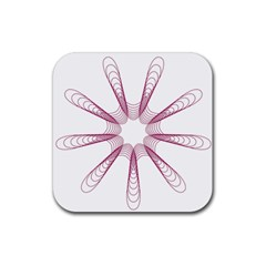 Spirograph Pattern Circle Design Rubber Square Coaster (4 Pack)  by Nexatart