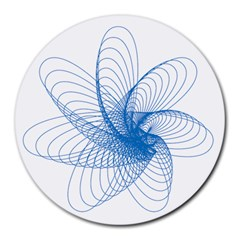 Spirograph Pattern Drawing Design Blue Round Mousepads by Nexatart