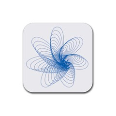 Spirograph Pattern Drawing Design Blue Rubber Square Coaster (4 Pack)  by Nexatart
