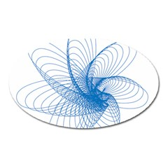 Spirograph Pattern Drawing Design Blue Oval Magnet by Nexatart