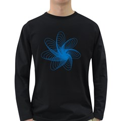 Spirograph Pattern Drawing Design Blue Long Sleeve Dark T Shirts
