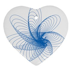 Spirograph Pattern Drawing Design Blue Heart Ornament (two Sides) by Nexatart