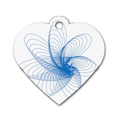 Spirograph Pattern Drawing Design Blue Dog Tag Heart (two Sides)