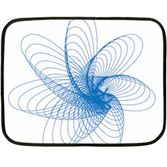 Spirograph Pattern Drawing Design Blue Double Sided Fleece Blanket (mini)