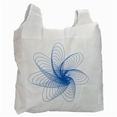 Spirograph Pattern Drawing Design Blue Recycle Bag (two Side)