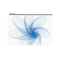 Spirograph Pattern Drawing Design Blue Cosmetic Bag (large)