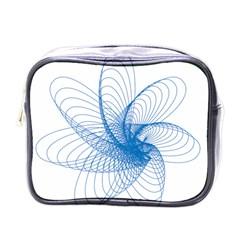 Spirograph Pattern Drawing Design Blue Mini Toiletries Bags