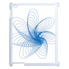 Spirograph Pattern Drawing Design Blue Apple Ipad 2 Case (white) by Nexatart