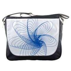 Spirograph Pattern Drawing Design Blue Messenger Bags