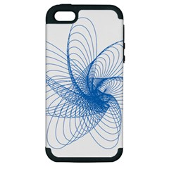 Spirograph Pattern Drawing Design Blue Apple Iphone 5 Hardshell Case (pc+silicone) by Nexatart